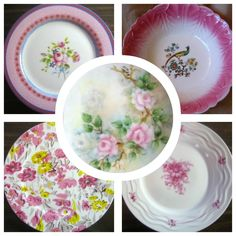 A collage of pink decorative dishes.