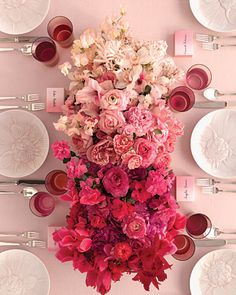 Gorgeous low pink ombré floral centerpiece www.touchofeleganceny.com