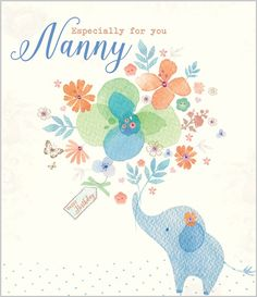 Card Ranges » 7514 » Nanny - Elephant holding Flowers - Abacus Cards - Greetings Cards, Gift Wrap & Stationery