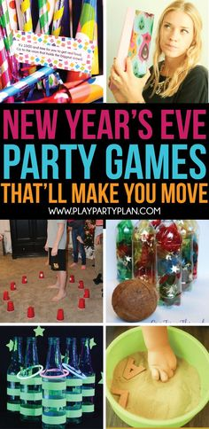 20 of the Best New Year's Eve Games - Play Party Plan Some of the best New Year's Eve party games! Perfect for kids, for adults, or really anyone! These games will get you up, moving, and laughing hysterically! Slumber Party Crafts, Diy Party Games, Holiday Party Games, Halloween Party Games, Craft Party, Ideas Party, Party Party, Party Games Group, 21st Party
