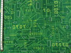 Designerstoffe USA - Computer Nerd Grün Patchworkstoff Stoff - ein Designerstück von Quilt-it-out bei DaWanda