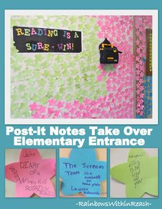 Bulletin Board of Elementary Reading Celebration on Post-it-notes [everytime a kid reads a book, they put it on a post it note] Classroom Bulletin Boards, Classroom Door, School Classroom, School Fun, School Ideas, Music Classroom, Library Activities, Classroom Activities, Classroom Ideas