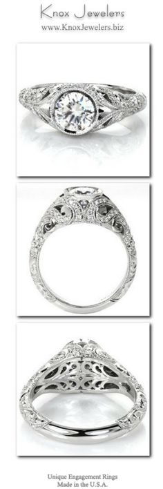 The Fitzgerald engagement ring evokes images of the elegant 1920's and the decadent gems worn during that time. A bezel set center stone is the focus of a band made from swirling patterns. The upper scrolls are adorned with round brilliant diamonds while the lower sections are masterfully hand engraved with relief style scroll-work. From out of town? No problem. Check out our Try Before you Buy Program.