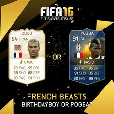 """Happy birthday to the legend Zidane! Who would you prefer in your Ultimate team? Leave a comment! #futislovefutislife #zizou #pogboom first like winner: @lewiskennard84 FIFA15 COINS!!!http://www.mmoxe.com/Affi-mmoxe-39263.html Use """"flycode"""" for 8% price off"""