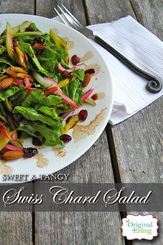 Savor this Sweet & Tangy Swiss Chard salad for a light, but satisfying meal. Rainbow chard, cranberries, almonds and more! Click here to learn learn more!