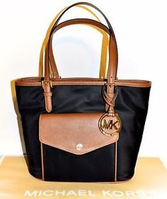 7b3ef8f70c7de4 Michael Kors Jet Set Medium Multifunction Pocket Tote Bag Purse Black