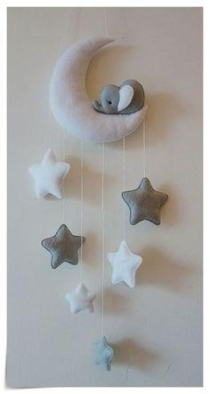 Sleepy elephant Moon and stars nursery decor ( silver grey, white ) in Baby, Nursery Decoration & Furniture, Mobiles | eBay!