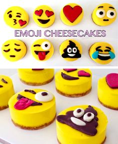 Emoji Cheesecakes - Emoji cake ideas and dessert inspiration for an Emoji Party. From birthday and graduation parties to school events, an emoji party theme is fun for all! LivingLocurto.com