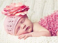 Candy Pink Crochet Hats with Candy Pink Rose