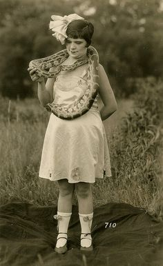 12.24 pm Friday 13th, 1927: although she wasn't the most successful member of the freak show, Adelaide the snake charmer was the politest and best behaved.