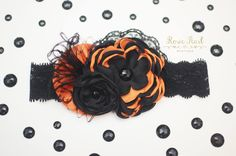Halloween Baby Headband, Fall Baby Headband, Halloween Hairbow, Orange and Black Headband Boutique Hairbow Fancy Spooky Toddler Baby Girls by RosiePearlBoutique on Etsy
