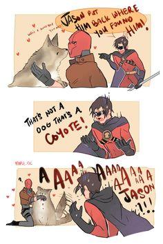 4/10/18 9:54p  DC Batman  Jayson Todd  aka Red Hood   Tim     Drake  aka Red Robin  A Real Coyote!