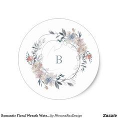 Shop Romantic Floral Wreath Watercolor Monogram Classic Round Sticker created by PhrosneRasDesign. Sophisticated Wedding, Elegant Wedding, Pastel Wedding Invitations, Floral Wreath Watercolor, Wedding Stickers, Baby Shower Invites For Girl, Monogram Wedding, Round Stickers, Custom Stickers