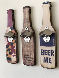 Wall mounted wood bottle openers with image inlay