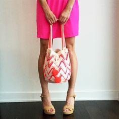 Hot Pink Geometric Pom Tote // Beach Bag / /Wayuu Mochila Tote // Azulina Wayuu $195