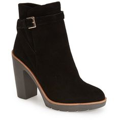 """kate spade new york 'gem' boot, 4"""" heel ($368) ❤ liked on Polyvore featuring shoes, boots, ankle booties, ankle boots, black suede, platform shoes, buckle boots, strappy boots, high heel shoes and strap boots"""