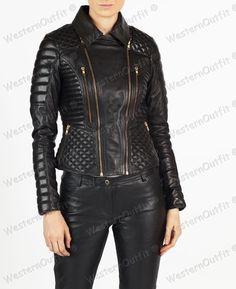 Womens Leather Jacket Stylish Motorcycle Biker Genuine Lambskin 98