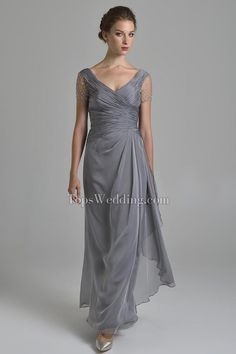 v neck empire waist mother of the bride dress - Google Search