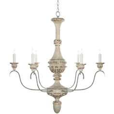 Aged White and Gold Bianco Chandelier
