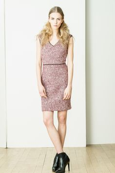 4.c - boucle tweed v-neck fitted dress