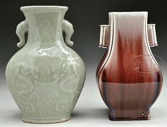 """Early 20th century, China. A flambe vase, and a celadon vase decorated with dragons. SIZE: Tallest: 10-1/2"""" h."""