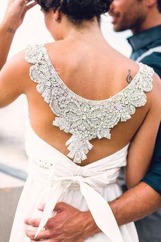 wedding dress detail - photo by Danfredo Photos and Films http://ruffledblog.com/back-to-school-wedding-inspiration