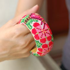 Hand embroidery Thai vintage fabric wooden bangle by kridaracraft, via Flickr
