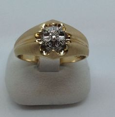 10K YELLOW GOLD MENS SOLITAIRE DIAMOND RING SIZE 9 #HOMECO #Solitaire