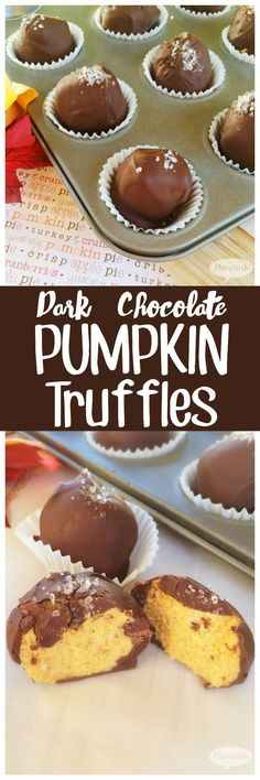 Looking for easy pumpkin recipes? These Dark Chocolate Pumpkin truffles will satisfy your sugar craving and make a great fall dessert for get togethers or just because!