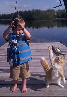 ~Better watch out for your fish little guy! at Cute Kids and Pets - Dogs Tips & Advice | mom.me~