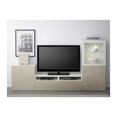 BESTÅ Comb arrum TV/portas vidro - branco/Selsviken brilhante/vidro transp bege, calha p/gaveta, abert pressão - IKEA