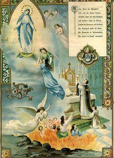 A Catholic Life: November: A Month to Pray for the Souls in Purgatory Catholic Mass, Catholic Religion, Catholic Prayers, Catholic Saints, Roman Catholic, Religious Images, Religious Art, Catholic Pictures, Vintage Holy Cards