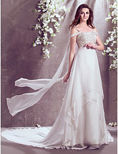 Lanting+Bride®+A-line+Petite+/+Plus+Sizes+Wedding+Dress+Court+Train+Off-the-shoulder+Chiffon+with+–+USD+$+425.00