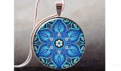 Ornate Blue art pendant charm resin pendant by thependantemporium, $8.95