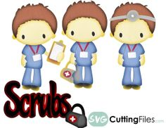 Male Nurse scrubs medical hospital SVG cutting files for cricut and home cutting machines