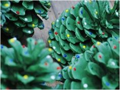 """Christmas tree"" pine cone decorations. Cute craft idea to so with kids. by salior girl"