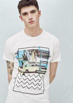 Printed cotton t-shirt - T-shirts for Man | MANGO Man United Kingdom