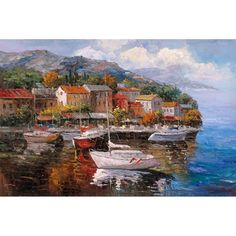 Keep a timeless classic alive with this Joval landscape canvas art. 'At Sea' depicts a beautiful coastline packed with boats, houses, trees, and mountains. The giclee print process brings astounding detail and vibrancy to this piece.