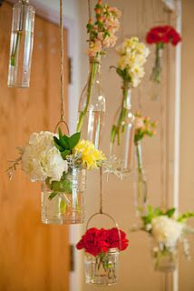 hanging bud vases with twine