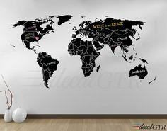 Chalkboard map world map wall dcor memo board luckies gifts world map countries wall decal borders outlines dry erase chalkboard vinyl wall art decor sticker erasable white black board gumiabroncs Images