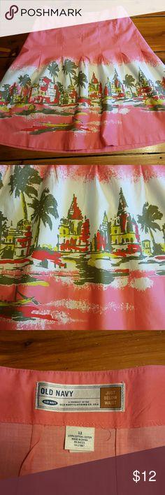 "Beach skirt Peach/light pink colored skirt with beach scene at sunset.  Side zipper.  34"" waist 21"" long. Old Navy Skirts Midi"