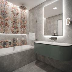Kids' en-suite bathroom with damask wall tiles Damask Wall, Wall Tiles, Bathroom Lighting, Bathroom Ideas, Bathrooms, Bathtub, Mirror, Kids, Furniture