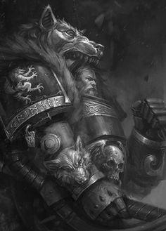 Warhammer 40k Space Wolves, Warhammer 40k Art, Fantasy Heroes, Sci Fi Fantasy, Wolf Character, The Horus Heresy, War Hammer, Berserk, The Grim