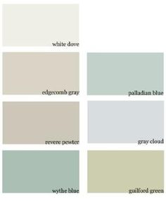 Benjamin Moore white dove, edgecomb gray, revere pewter, wythe blue, palladian blue, gray cloud, guilford green by bernadine