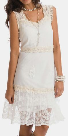 Vanilla Christy Lace-Accent Sleeveless Dress - Want to make beautiful lace blouses, skirts, and dresses? Buy bridal gowns at a Goodwill or Thrift store and re-cut, re-purpose. You may need a seamstress to do this.