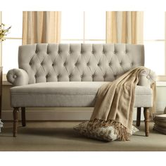 Shop for Upholstered Settee Loveseat with Tufting Back. Get free delivery at Overstock - Your Online Furniture Store! Get in rewards with Club O! Design Living Room, My Living Room, Living Room Furniture, Dining Rooms, Couch Furniture, Chaise Lounges, Breakfast Nook Dining Set, Breakfast Nook Furniture, Online Furniture Stores