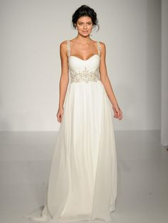 Maggie Sottero flowing chiffon Grecian wedding dress with beaded waist and straps