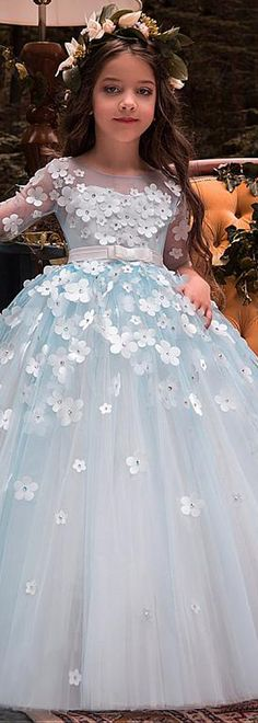 Unique Tulle Bateau Neckline Half Sleeves Ball Gown Flower Girl Dresses With Belt & Bowknot & Beaded Handmade Flowers