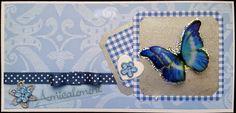 carte en scrap, amicalement, papillon bleu de Aux P'tits Artistes les cartes sur DaWanda.com