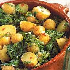 Indian Spicy Indian Potatoes with Spinach Dinner